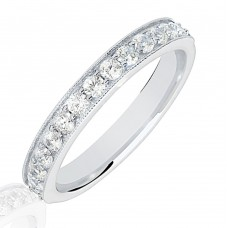 18ct White Gold .50ct Diamond Micro Claw Set Wedding Ring
