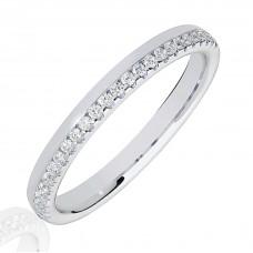 18ct White Gold .15ct Diamond Offset Wedding Ring