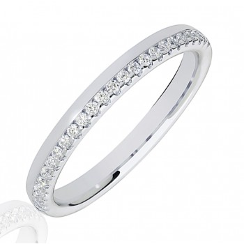 18ct White Gold .15ct Diamond Offset Wedding Ring