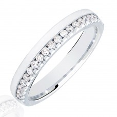 18ct White Gold .33ct Diamond Offset Wedding Ring
