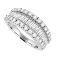 18ct White Gold 3-Row Baguette Diamond Eternity Ring