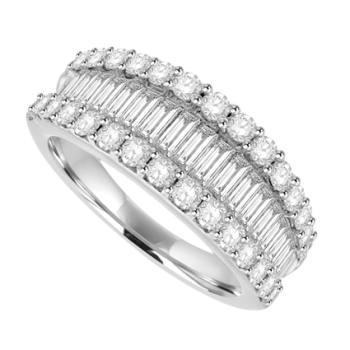 18ct White Gold 3-Row Baguette Diamond Eternity Ring