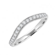 18ct White Gold Diamond Grain Set Bow Shaped Wedding Ring