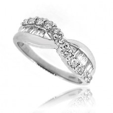 18ct White Gold Brilliant & Baguette Diamond Cross Over Ring