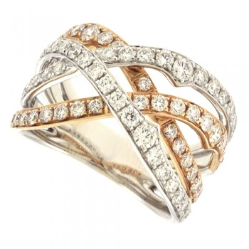 18ct Rose & Whte Gold Diamond Weaved Eternity Ring