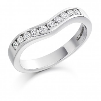 18ct White Gold 10-stone Diamond Bow Shaped Eternity Ring