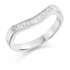 18ct White Gold Diamond Baguette Bow Shaped Wedding Ring