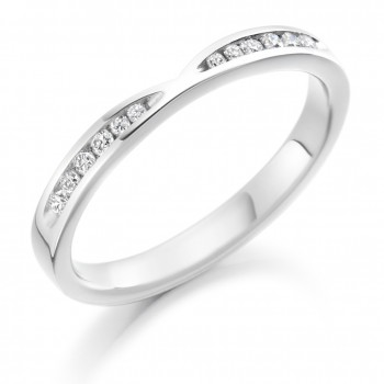 18ct White Gold Bow Shaped Diamond Wedding Ring