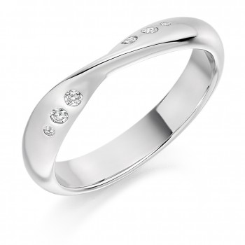 18ct White Gold Diamond Set Twist Wedding Ring