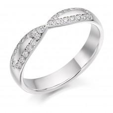 18ct White Gold Diamond Shaped Infinity Wedding Ring