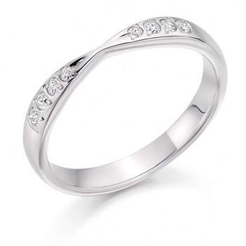 18ct White Gold Diamond Bow Style Wedding Ring