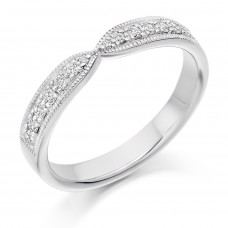 18ct White Gold Diamond Bow Shaped Millegrain Wedding Ring