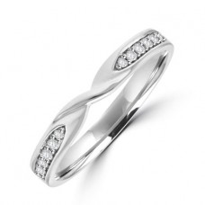 18ct White Gold Diamond Twist Wedding Ring