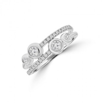 18ct White Gold Two-row Crossover Eternity Ring