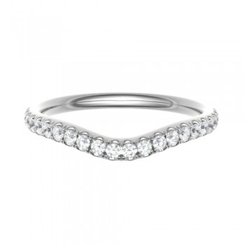 18ct White Gold Wishbone .17ct Diamond Castle Wedding Ring