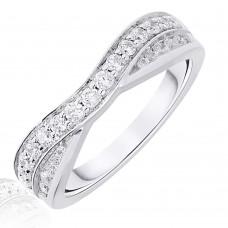 18ct White Gold .50ct Brilliant & Baguette Diamond Overlap Ring
