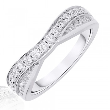18ct White Gold .50ct Brilliant & Baguette Diamond Overlap Ring