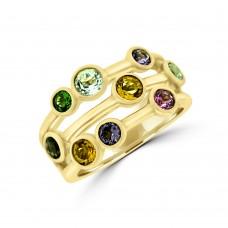 9ct Gold Mulit-colour Semi Precious Bubble Ring