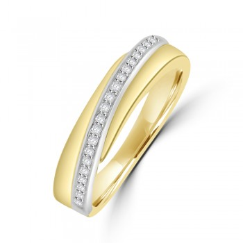 9ct Yellow & White Gold Diamond Crossover Band
