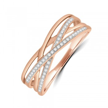 9ct Rose Gold Diamond Crossover Ring
