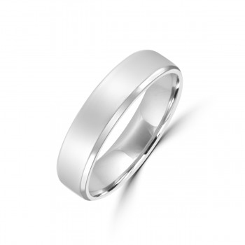 Platinum 5mm Flat Court Wedding Ring