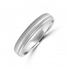 Platinum 4mm Beaded Edge Wedding Ring