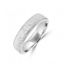Platinum 5mm Hammered Wedding Ring