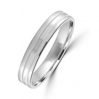 Platinum 4mm Lined Satin Wedding Ring