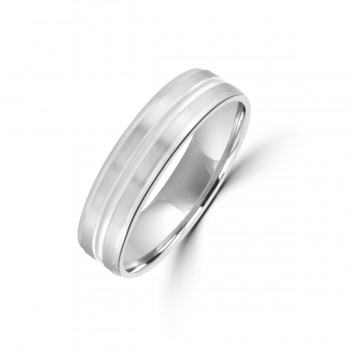 Platinum 4mm Lined Satin/Polished Wedding Ring