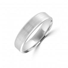 Platinum 5mm Satin Bevelled Edge Wedding Ring