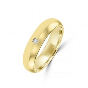 18ct Yellow Gold 5mm Princess Cut Diamond Wedding Ring