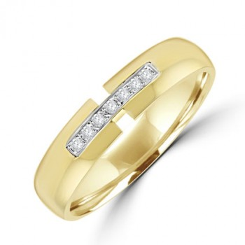 18ct Gold Diamond Cut out Gents Wedding Ring