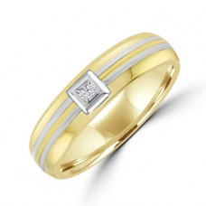 18ct Two-Tone Princess cut Diamond Gents Wedding Ring
