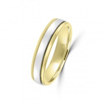 18ct Yellow/White Gold 4mm Wedding Ring