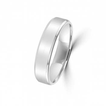 18ct White Gold Polished Flat Wedding Ring