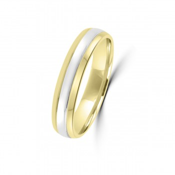 18ct Yellow and White Gold 4mm Wedding Ring