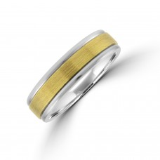 Palladium 500 6mm Wedding Ring with Brushed 9ct Gold Sleeve