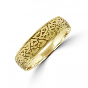 9ct Gold 6mm Court Celtic Engraved Wedding Ring