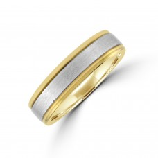 9ct Gold 6mm Court Wedding Ring with Brushed Palladium Sleeve