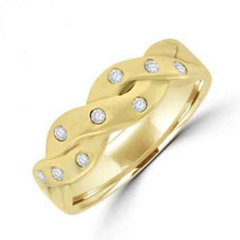 9ct Gold Diamond set Plaited Ring