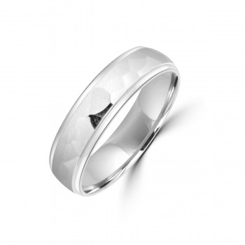 9ct White Gold 5mm Hammered Wedding Ring