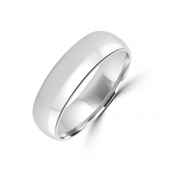 9ct White Gold 6mm Traditional Court Wedding Ring