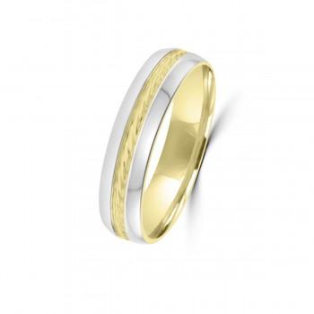 9ct Yellow/White 5mm Rope Twist Wedding Ring