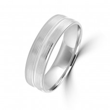 9ct White Gold 6mm Satin Lined Wedding Ring