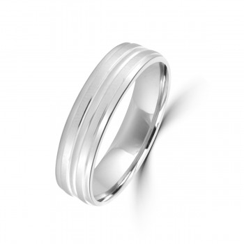 9ct White Gold 5mm Lined Flat Court Wedding Ring