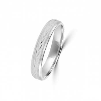9ct White Gold 4mm Diamond Cut Wedding Ring