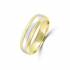 9ct Yellow/White Gold 6mm Plain Wedding Ring
