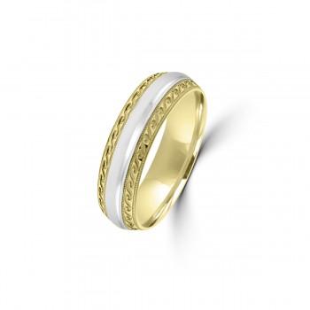 9ct Yellow/White Gold 6mm Beaded Edge Wedding Ring