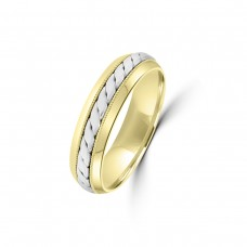 9ct Yellow/White Gold 5mm Twist Wedding Ring