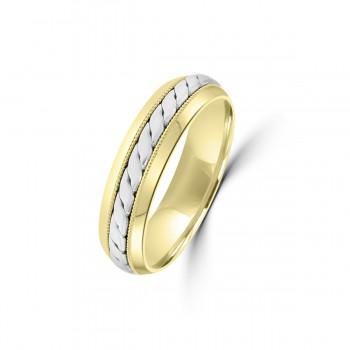9ct Yellow/White Gold 5mm Twist Wedding Ring